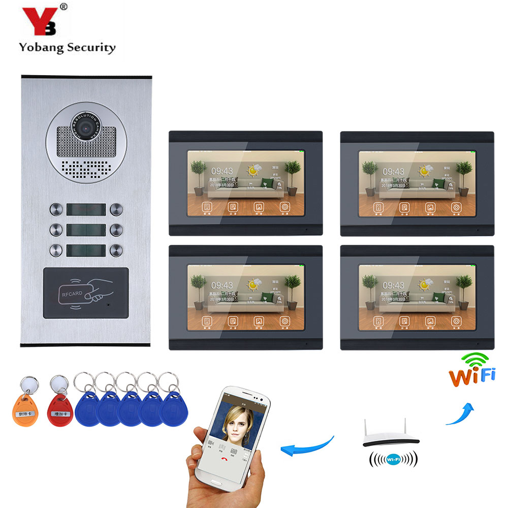 YobangSecurity 4 Units Apartment Video Intercom 7 Inch LCD Wifi Wireless Video Door Phone Doorbell Video Recording APP Control yobangsecurity 6 units apartment video intercom 7 inch lcd wifi wireless video door phone doorbell video recording app control