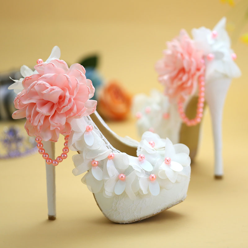Sexy High Heels Pink Lace Flower Pearls Beaded Bridal Wedding Pumps Graduation Evening Party Dress Shoes Woman Plus Size EU35-41