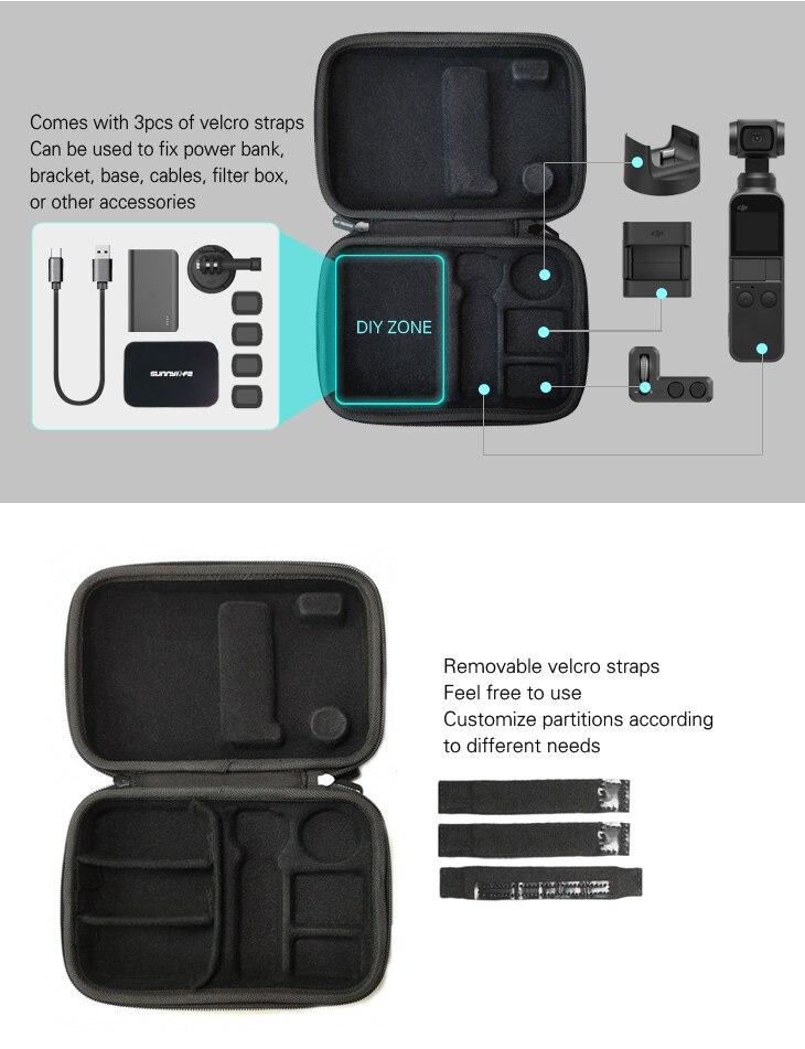 Sunnylife DJI Osmo Pocket Bag Handheld Gimbal Camera Stabilizer Box Carry Portable Case for DJI Osmo Pocket Gimbal Accessories 2