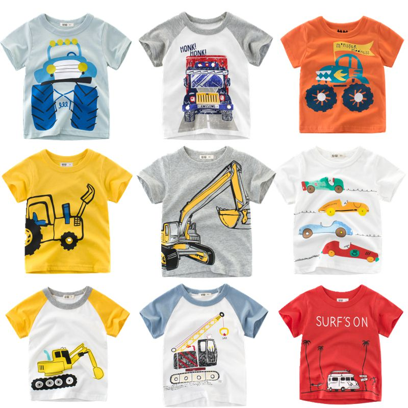 Loozykit 2-10Y Cartoon Print Boys Transportation T Shirt Summer Infant Kids Boys Girls Fashion T-Shirts Clothes Cotton Toddler(China)