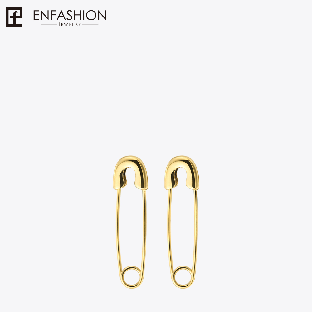 Fashion Safety Pin Lange Øreringe Rose Gold Farve Earings Rustfrit stål Dangle Øreringe For Women Smykker Orecchini Brinco