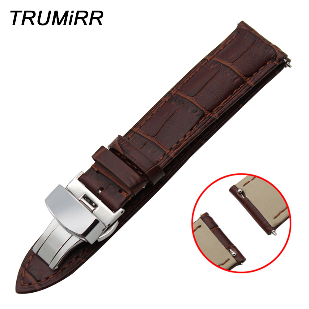 18mm 20mm 22mm Quick Release Watch Band Genuine Leather Strap for Tissot T035 <font><b>PRC</b></font> <font><b>200</b></font> T055 T097 Butterfly Buckle Wrist Bracelet image