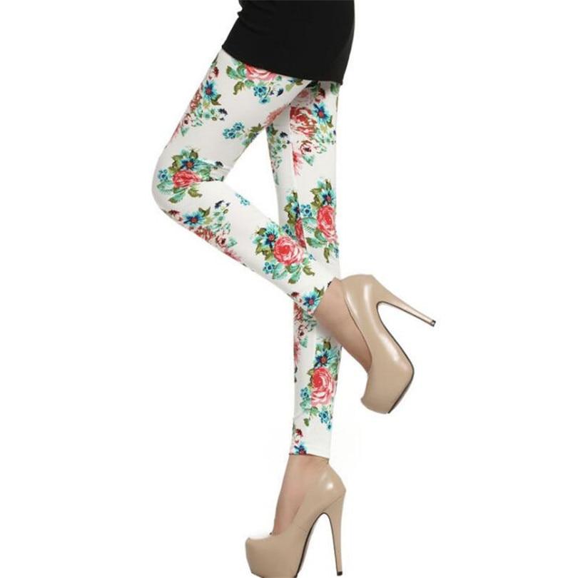 CUHAKCI Women Legging Cotton High Waist Leggings Elastic Casual Pants Floral Printed Leggings Soft White Fashion Women Trousers