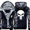 Winter Warm The Punisher Skull Hoodies Men Casual Hooded Coat Men Thick Zipper Jacket Sweatshirt