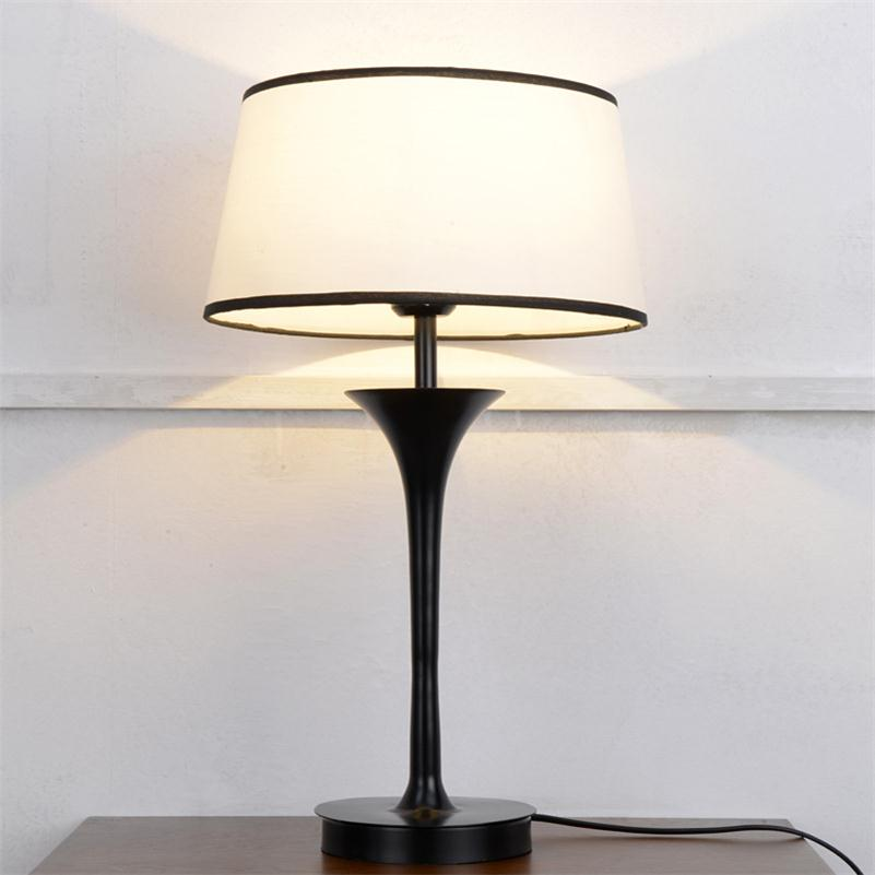 Modern living room table lamps white cloth shade bedroom - Black table lamps for living room ...