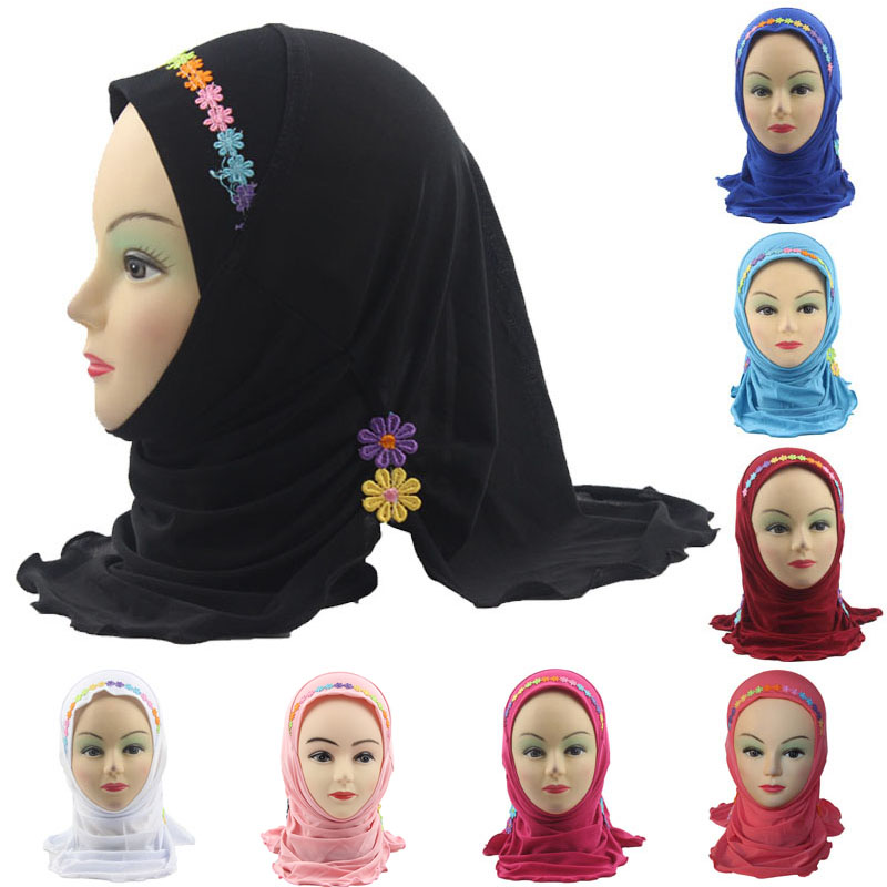 Fashion Accessories Girls Kids Muslim Hijab Islamic Arab Scarf Shawls With Beautiful Flowers For 3 To 8 Years Old Girls