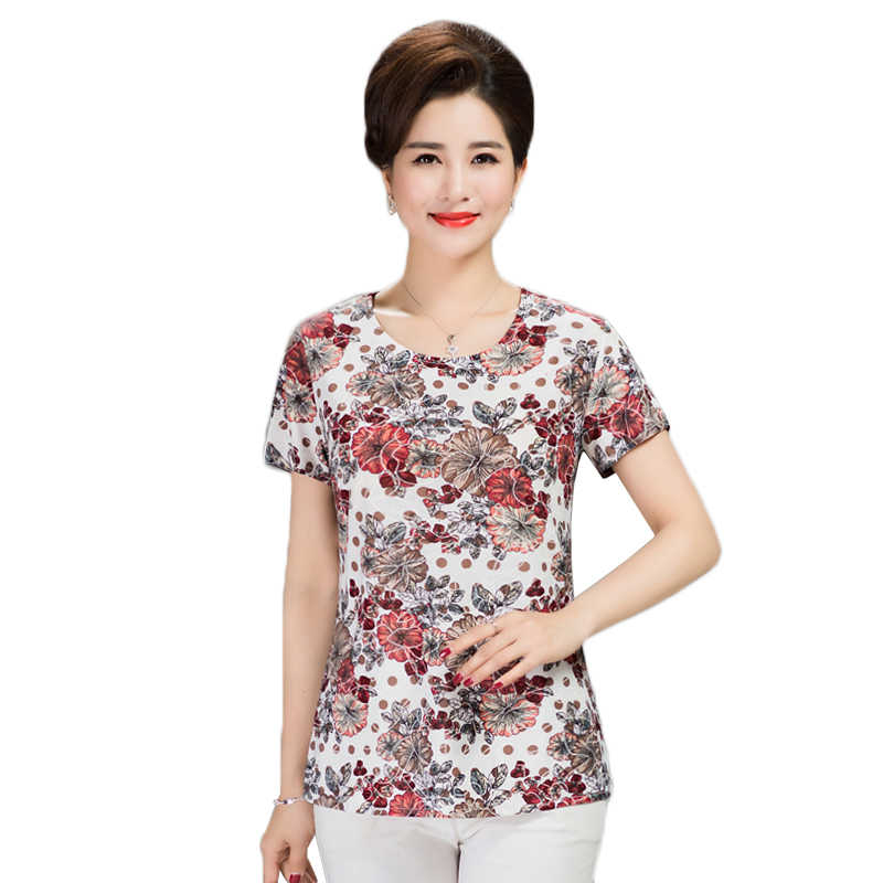 Womens print t-shirts 2018 sommer mittleren alters milch seide t-shirts womens casual lose tops weibliche kurzarm plus größe t-shirts