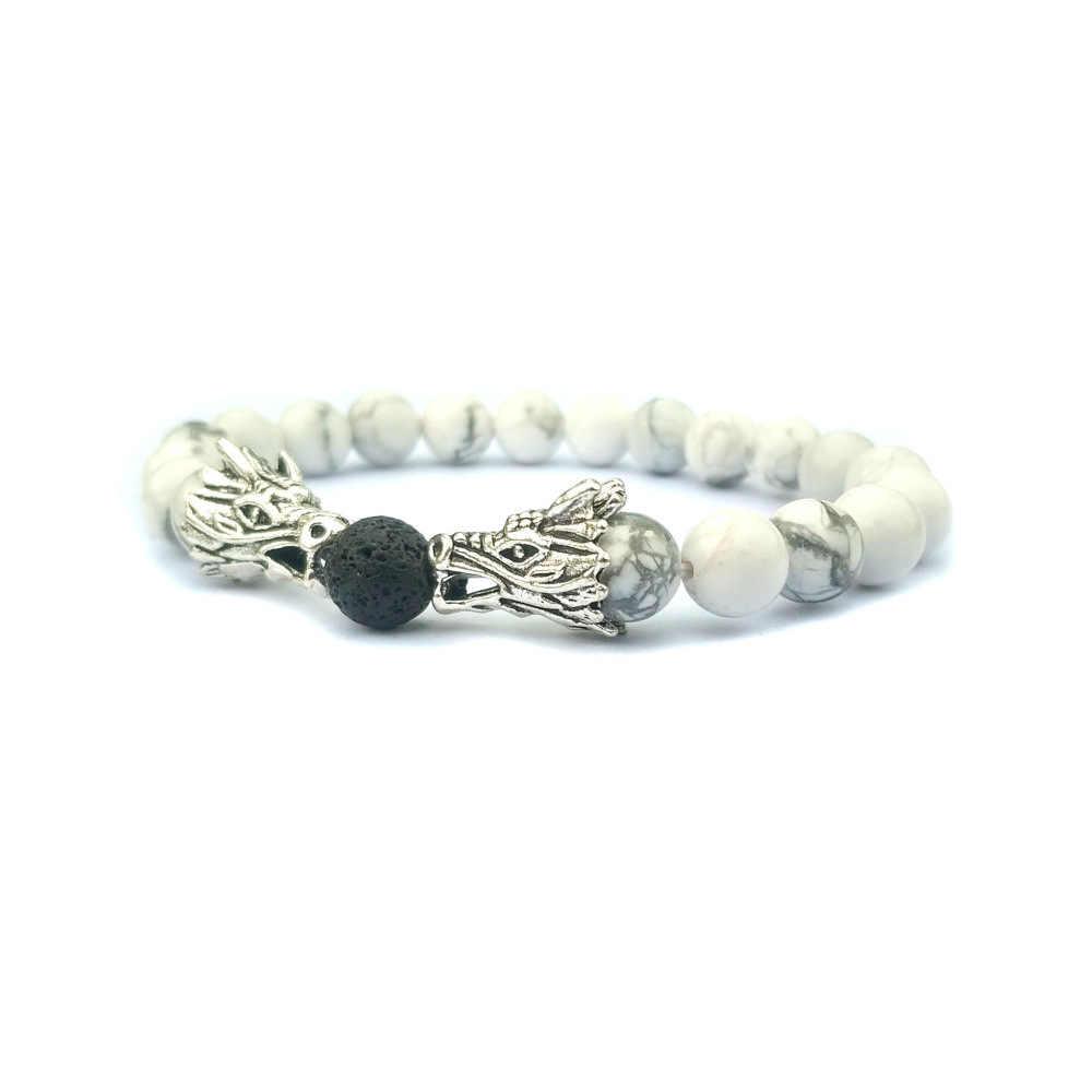 Ashmita 2019 dragaon preto lava pedra howlite amizade pulseiras para mulheres masculino casal pulseira amigo e amor