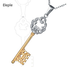 Eleple Stainless Steel Fashion Key Sweater Chain Female Simple Double Color Party Gifts Necklaces Manufacturers Factory S-N265
