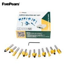 Fivepears 8mm 정강이 12pcs 라우터 비트 세트 전문 목공 텅스텐 카바 이드 밀링 커터 나무 스토리지 박스