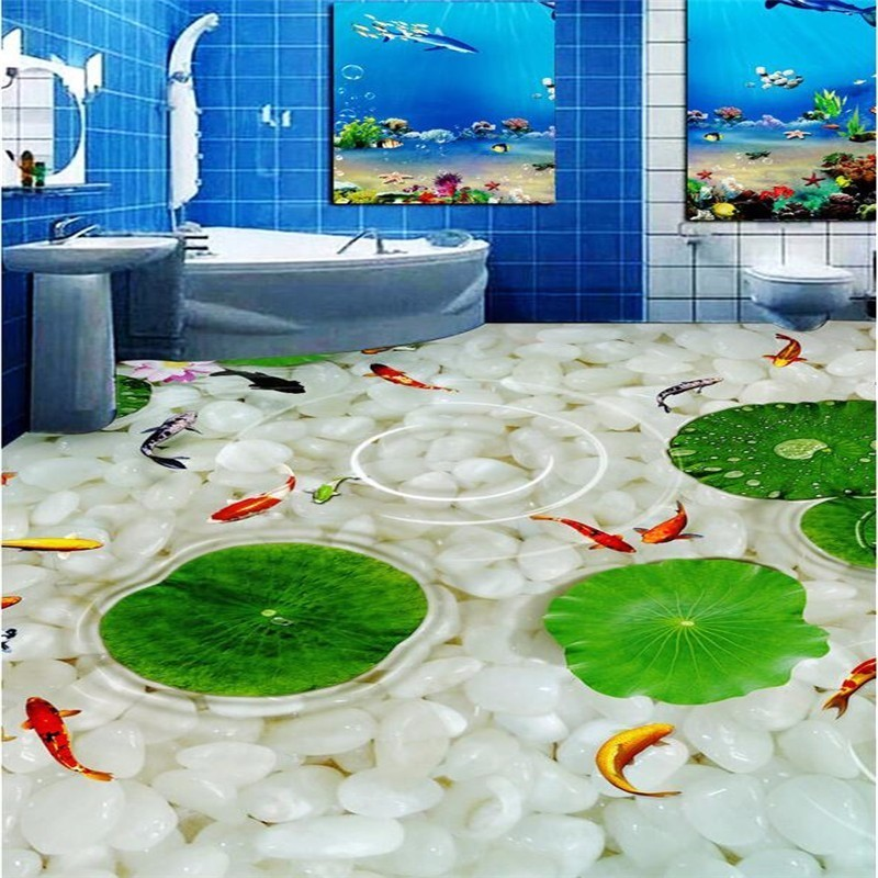 Beibehang Modern Bathroom Kitchen Custom 3D floor mural wallpaper wear 3d flooring thickened self-adhesive PVC photo Wallpaper