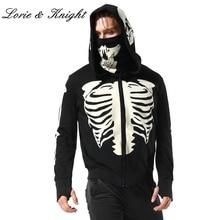Men's Black Hooded Zipper Sweatshirt Skeleton Skull Mask Gothic Hoodie