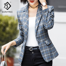 BIRDTREE TB 2018 Autumn Winter Women Striped Blazers Elegance Notched Full Sleeve