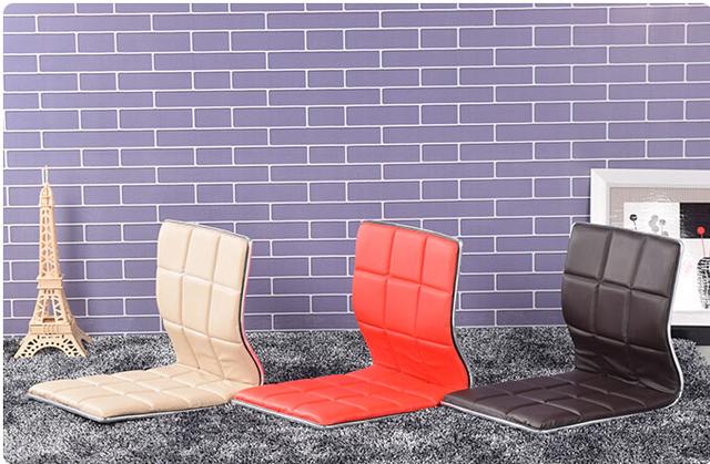 (6 pçs/lote) Cadeira de Couro Design para Decoração de Sala de estar Mobiliário Japonês Tatami Zaisu Chão Sem Pernas Cadeira de Couro