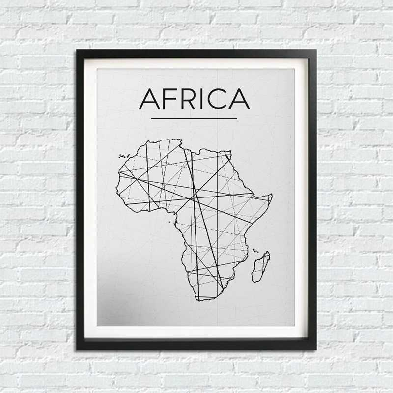 Africa Map Wall Art Canvas Poster Print , Modern Black and White Minimalist Map Painting Wall Picture for Africa Room Home Decor