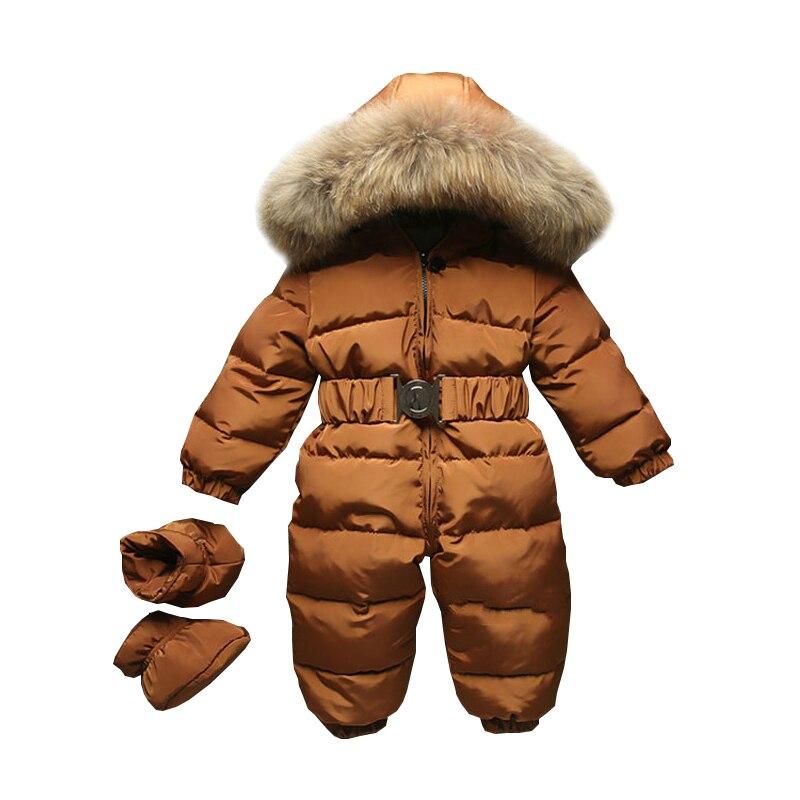 2019 hiver bébé barboteuse onesie manteau infantile enfants Snowsuit vêtements de dessus nouveau-né fille garçons combinaison neige porter salopette fourrure capuche