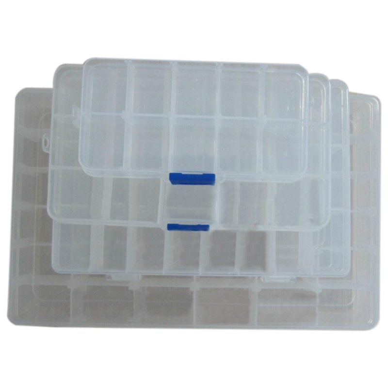 Hot 4 pcs transparent color PP material IC chip parts box electronic components box storage box storage box can be split 10 gr