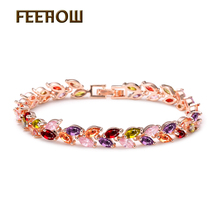 FEEROW Rose Gold Plated Women Fashion Bracelets Cut Multicolour Marquise Shape AAA+ Zircon Chain Bracelets FWBP028