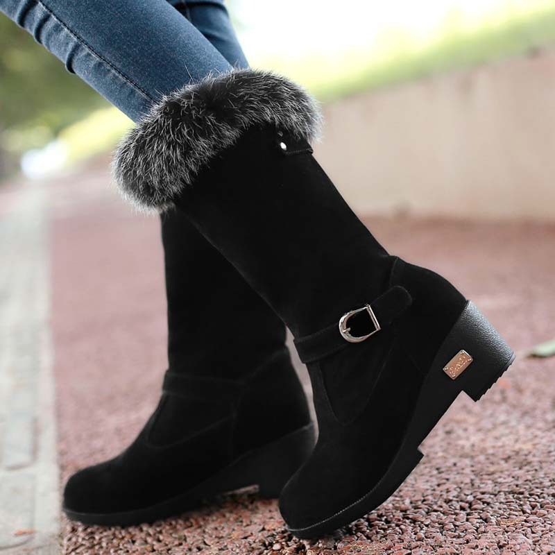 Round Toe warm snow boots big size 34-43 women boots Mid-Calf wedhes High boots Buckle Fashion Platform Winter Boots zoob 500 элементов