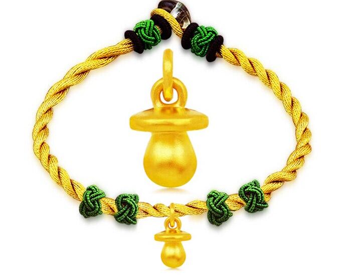 New Arrival 999 3D 24K Yellow gold Lovely Nipple Knitted Bracelet hot sale new arrival 999 24k yellow gold monkey knitted bracelet