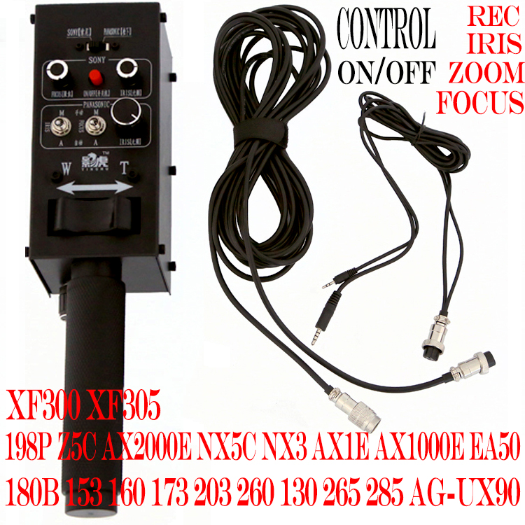 DV Camcorder Pro Remote Controller with iris Focus Zoom Control Lanc for dv from SONY or PANASONIC for camera Jib crane Arm tripod handle camcorder eng lens controller with rec zoom control for lenses from fuji or canon professional broadcast camera