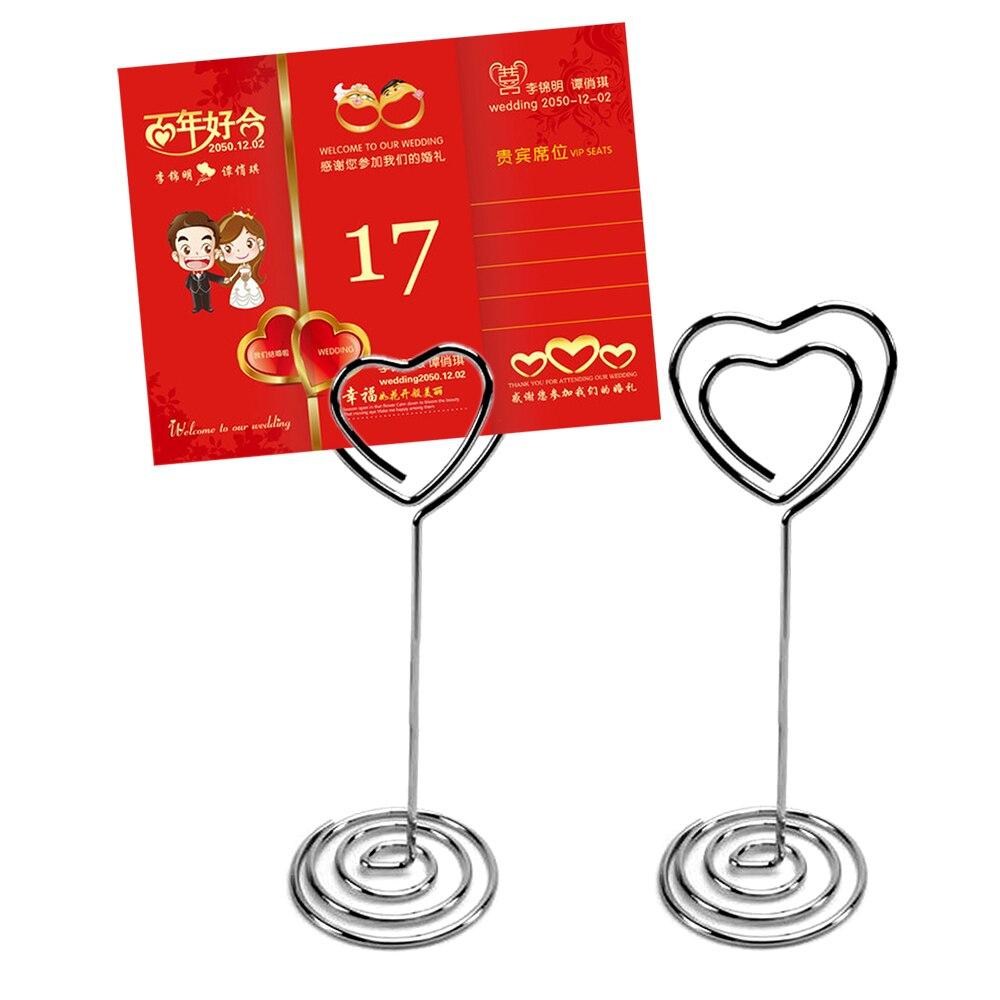 TAOS 50 Pcs Multi-Fonctionnelle Métal Amant Coeur En Forme de Table Stand Menu Carte Clip Holder pour la Fête D'anniversaire De Mariage décoration