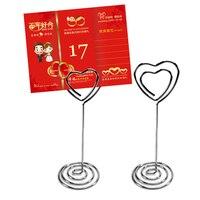 Taos 50 قطع متعددة الوظائف المعادن عاشق القلب شكل الجدول حامل بطاقة كليب حامل القائمة ل حفلة الزفاف الديكور