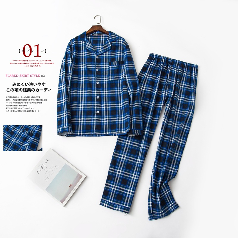 Autumn&winte Cotton Men's Long-sleeved Trousers Flannelette Pajamas Plaid Pajama Set Sleepwear Men Leisure Suits Fleece Pyjamas