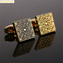 GraceAngie 1Pair Square Shape Copper Made Cuff Link Designed Pattern Luxurious Jewelry For Men Wedding Party Accessories 17*17mm