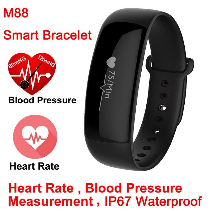 imágenes para M88 Banda Inteligente Reloj Medidor Del Pulso de Presión Arterial de Muñeca Monitor Cardíaco Gimnasio Rastreador Pulsera Smartband para iOS Android