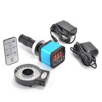 Indústria Microscope Camera HDMI Saídas USB + 120X 14MP Zoom C-montagem Da Lente com 40 Led Luz para PCB laboratório
