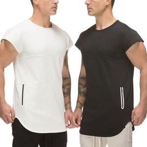 Мужская футболка для фитнеса, летняя спортивная свободная дышащая футболка для тренажерных залов с коротким рукавом для бодибилдинга, бега...