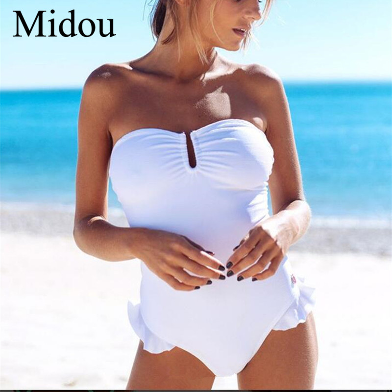 Midou Swimsuit Cross Bandage Ruffle One-piece Swimsuit Sexy Swimsuit Female Solid Color Bandage Tube Top Bikini Strapless Bikini