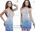 Роскошные блестящие синий стразы кристалл коктеила ну вечеринку платье короткий халат коктеила 2015 рождество платье возвращения домой к ну вечеринку