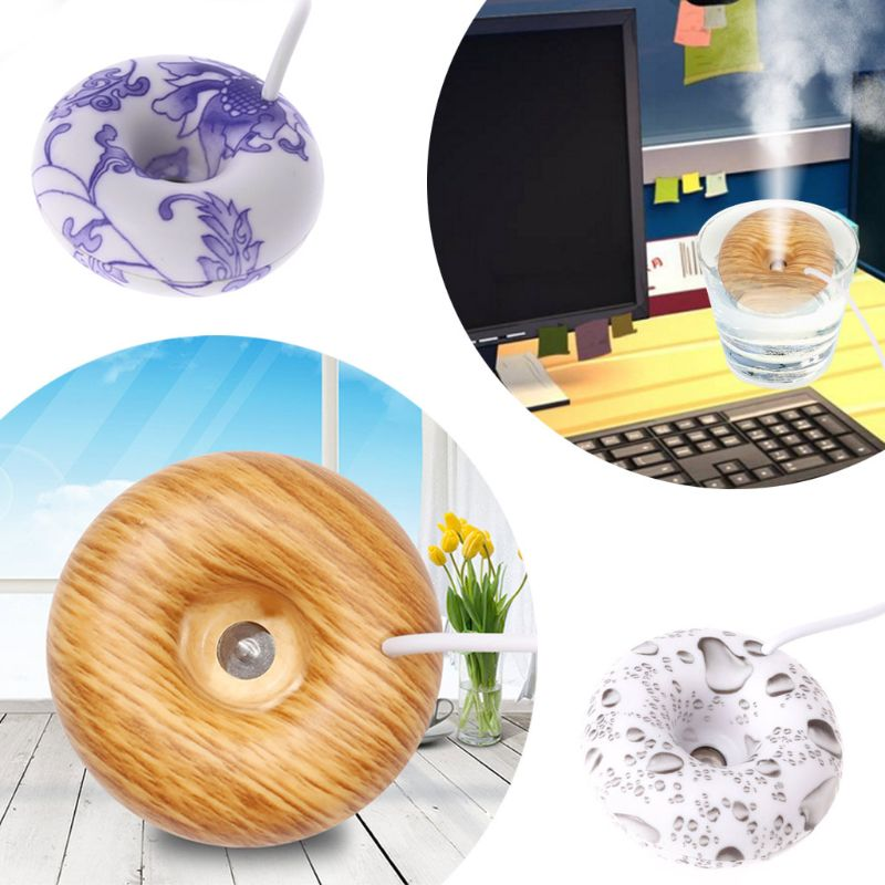 Mini Portable Donuts USB Air Humidifier Purifier Floats Aroma Diffuser Steam
