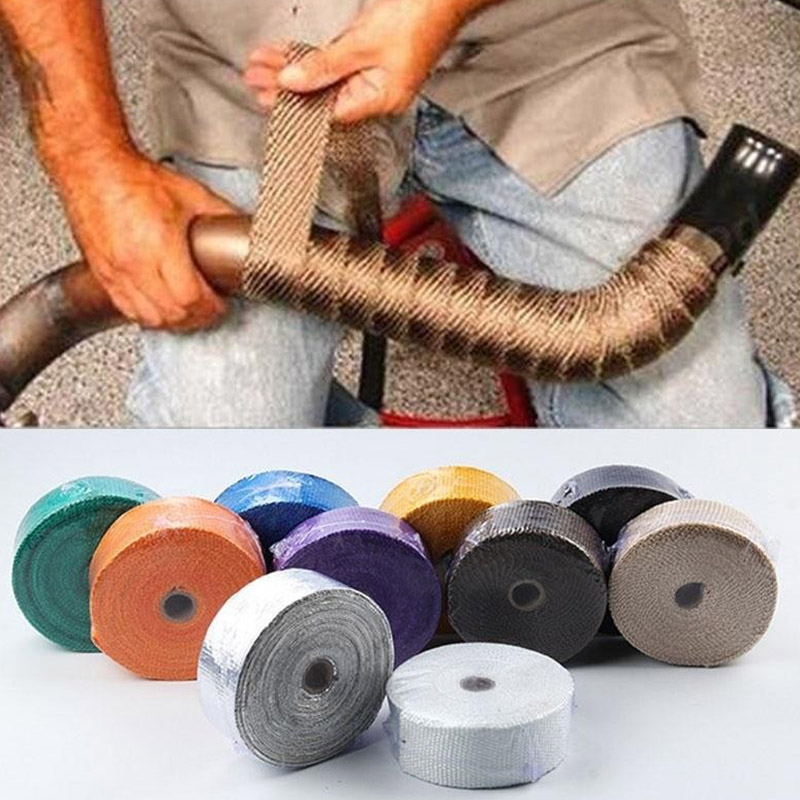 Hot Car Motorbike Exhaust Pipe Wrap Tape Manifolds Heat Thermal Wrap Tape JLD* Exhaust & Exhaust Systems     - title=