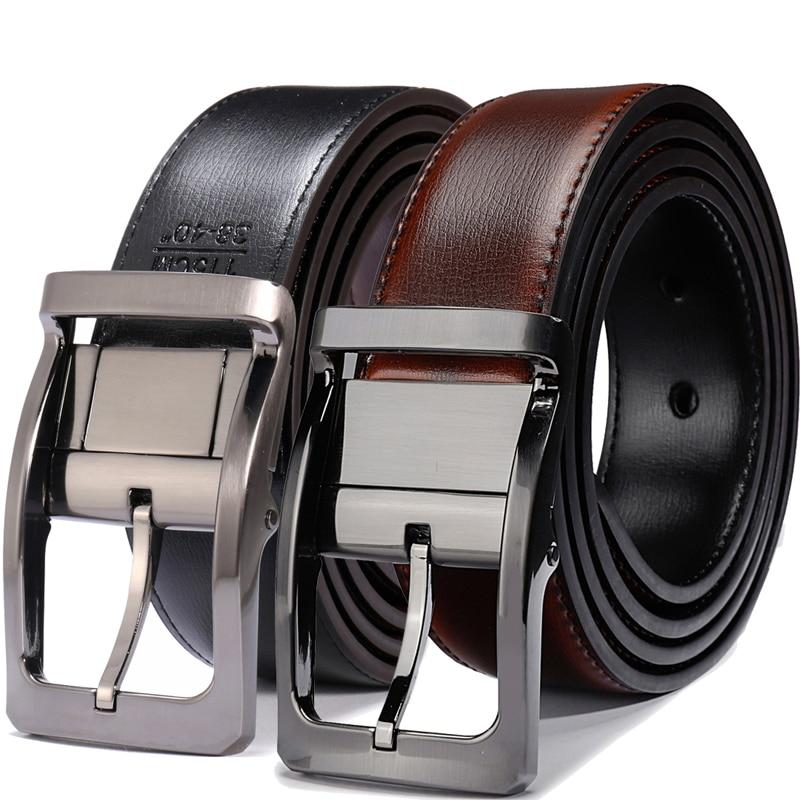 Men's Genuine Leather Dress Belt, Reversible Belt For Men Black/Brown And Black/Cognac 3.3cm Wide Mens Belts Big And Tall