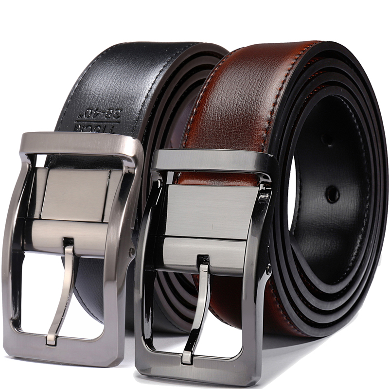 Men's Genuine Leather Dress   Belt  , Reversible   Belt   for Men Black/Brown and Black/Cognac 3.3cm wide mens   belts   big and tall