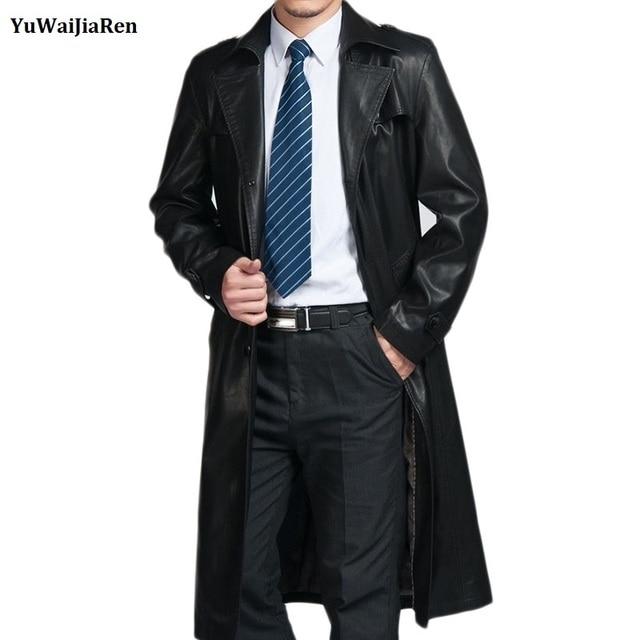 Classic Brand Men Genuine Leather Trench Coat X-Long Thick Man Sheepskin Pea Parka Male Outwear Plus Size 3XL 4XL  Autumn Winter