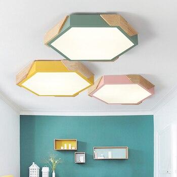 MDWELL LED tavan ışıkları Modern yuvarlak tavan monte ahşap lambaları yatak odası için ahşap mutfak armatür renkli oda lambası
