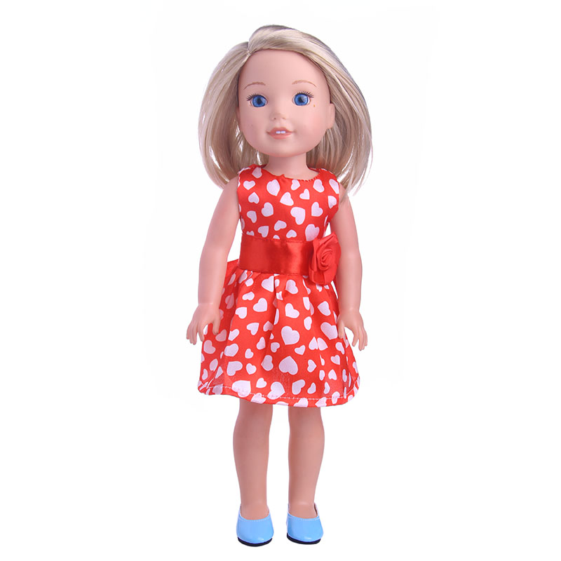 Best  Gift Red Bow Dress For Wellie Wisher Doll  ,Doll Accessories