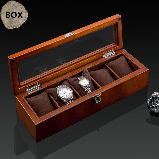 أعلى 5 فتحات ساعة عرض خشبية حالة خشب أسود صندوق لتخزين ساعات اليد مع قفل ساعة خشبية أنيقة هدية مجوهرات حالات C023