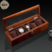 Estuche de exposición de reloj de madera con 5 ranuras superior caja de almacenamiento de reloj de madera negra con cerradura reloj de madera de moda Cajas de Regalo de joyería C023