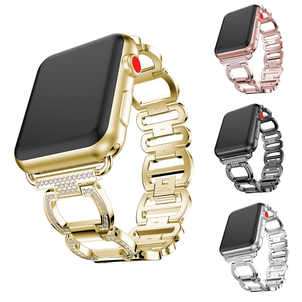 Nvpone Stainless Steel Strap For Apple Watch Band Rhinestone Diamond 38mm/42mm Smart Watch Metal Band for i Watch Series 3 2 1