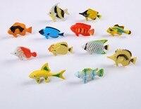 12 pcs/set poissons tropicaux figure modèle de simulation jouet en plastique PVC poupée ornements costume enfants jeu jouets pour enfants