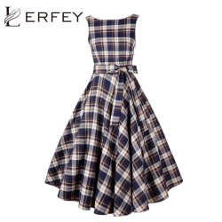 Lerfey women summer rockabilly dress tunic robe casual 50s vintage plaid tarta swing dresses midi dress.jpg 250x250