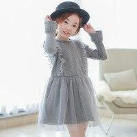 Chegada nova Outono Inverno Coreano Meninas Doce Vestido Cinza de Manga Comprida Crianças Roupas Para Crianças Casual Vestido de Festa de Aniversário