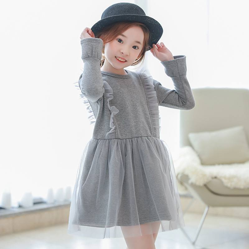 New Arrival Korean Autumn Winter Girls Dress Sweet Grey Long Sleeved Children Clothing For Kids Casual Birthday Party Dress girls dress winter 2016 new children clothing girls long sleeved dress 2 piece knitted dress kids tutu dress for girls costumes
