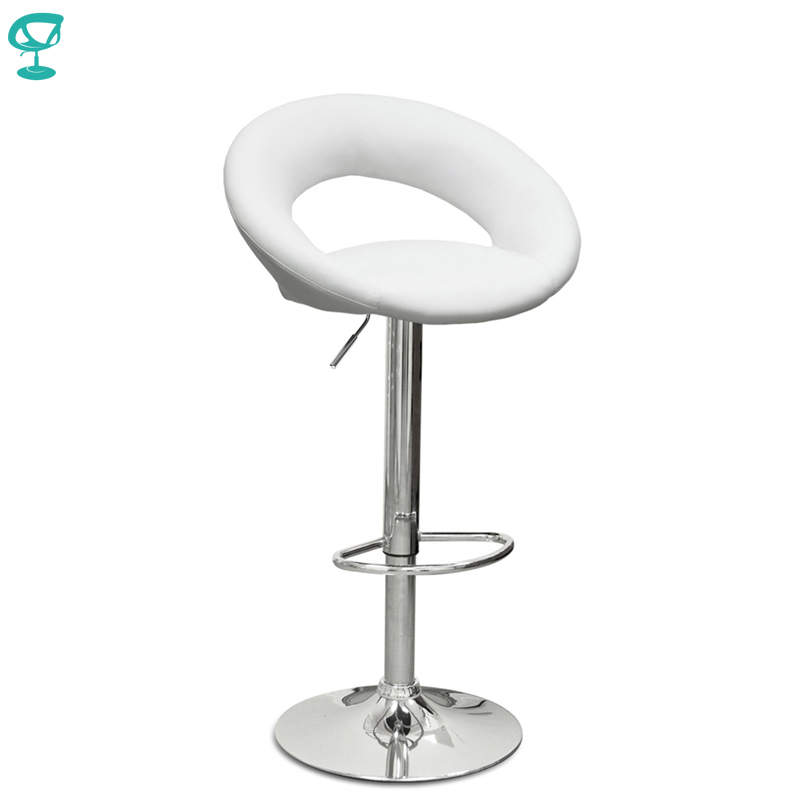 94502 Barneo N-84 Leather Kitchen Breakfast Bar Stool Swivel Bar Chair White Color Free Shipping In Russia