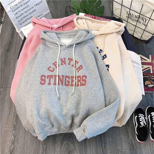 Zuolunouba High Street Knit Hooded Letter Lady Fleece Pullovers Ins Style Add Velvet Thick Sweater Women Autumn Winter Clothes 4